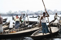The boatsmen waiting for clients near Sadarghat